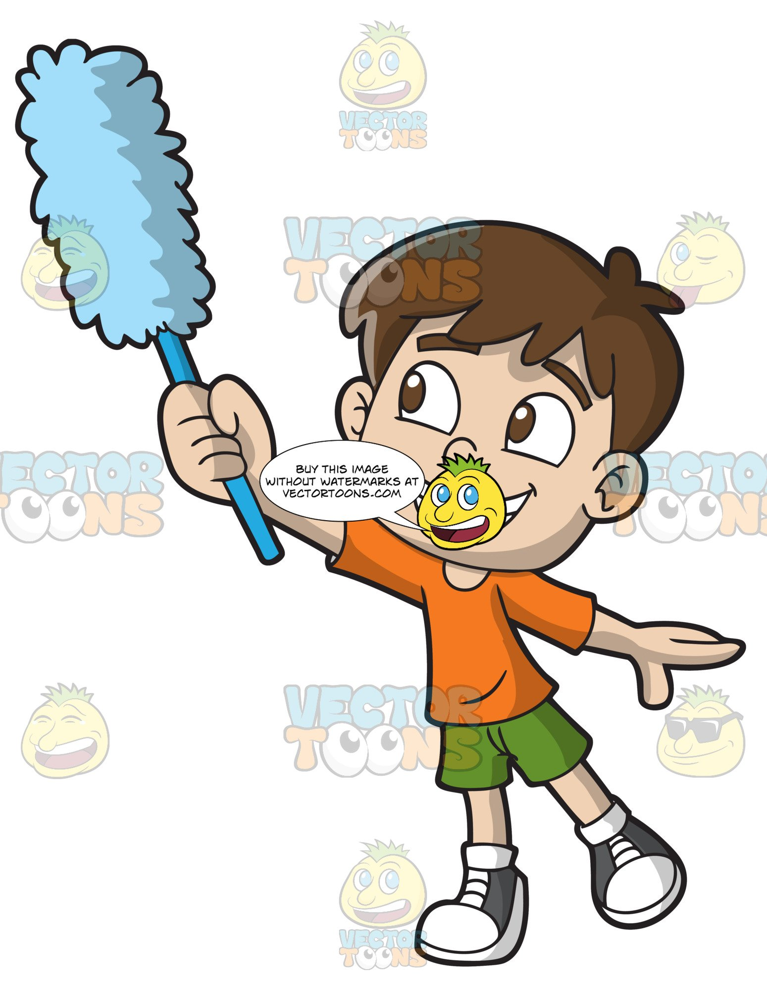 svg royalty free stock Kid dusting clipart. A boy the walls