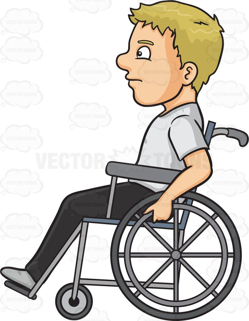 picture transparent stock A man cartoon vector. Kid in wheelchair clipart