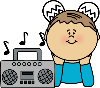 vector royalty free Boy radio postacie do. Kid listening to music clipart.