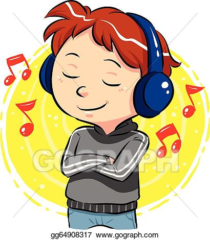 vector free library Vector stock illustration . Kid listening to music clipart.