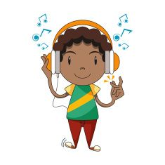 jpg royalty free download Kid listening to music clipart. Child using headphones vector.