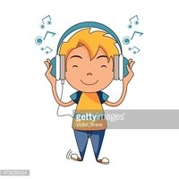vector library stock Using headphones stock vectors. Kid listening to music clipart.