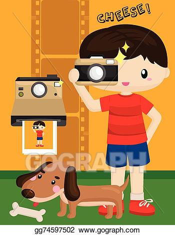 banner free download Kid photographer clipart. Vector illustration eps
