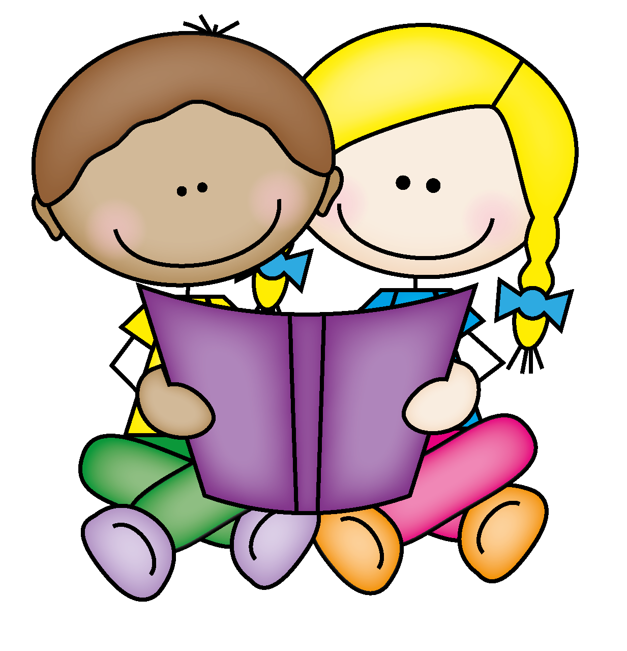 image stock Picture of little book. Stick kids reading clipart