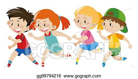 png freeuse download Vector art group of. Kid running clipart