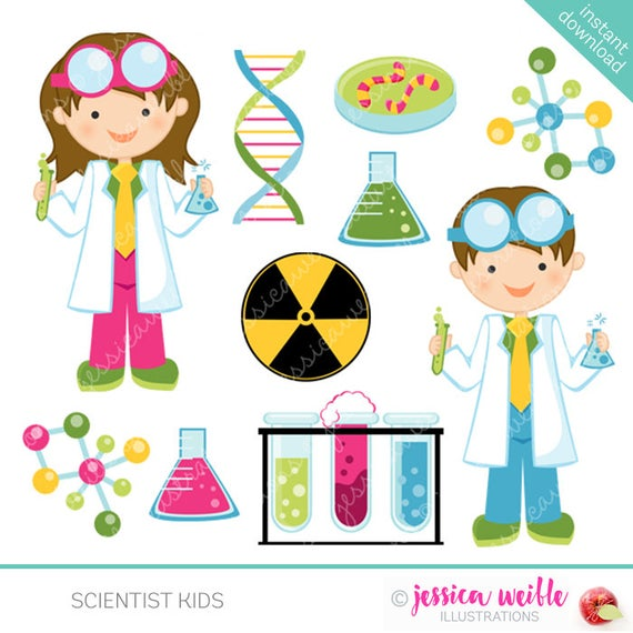 image transparent library Kids cute science clip. Kid scientist clipart