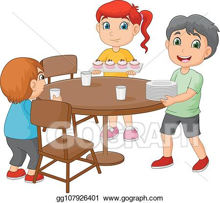 png transparent stock Kid set table clipart. Vector cartoon kids setting