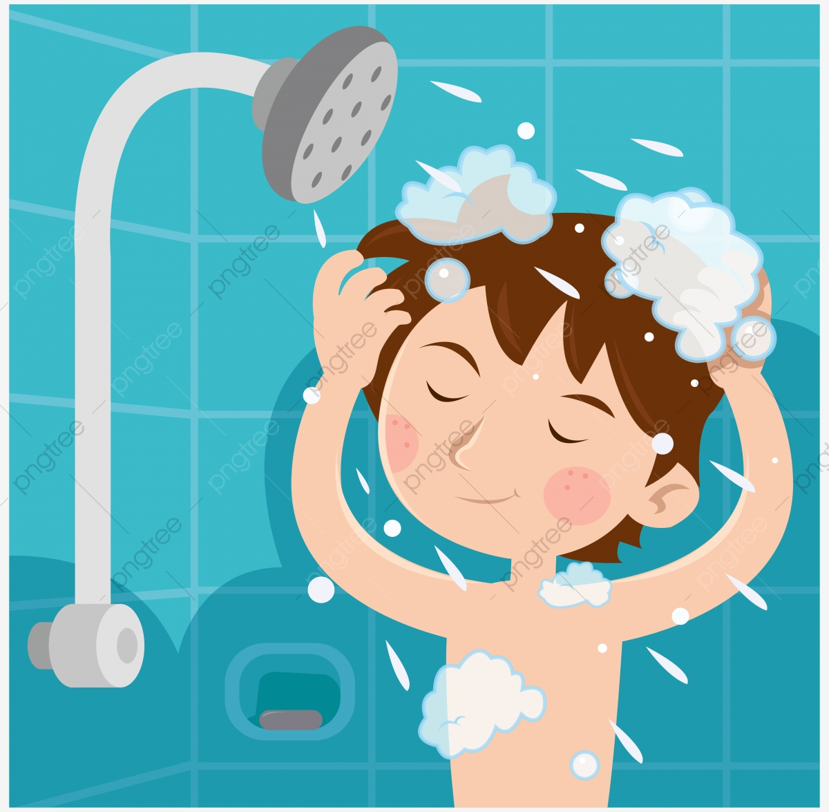 picture royalty free library Kid shower clipart. Kids child illustration png