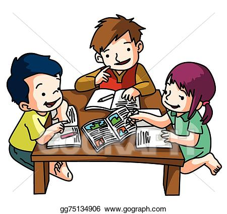png freeuse Vector stock kids together. Kid studying clipart