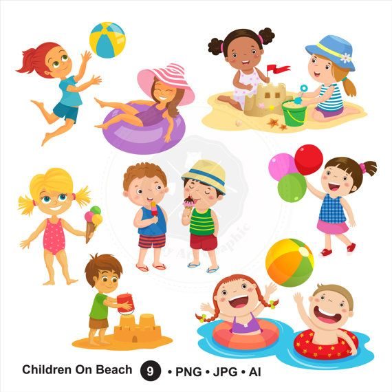 clipart free stock Children on beach . Summer kids clipart