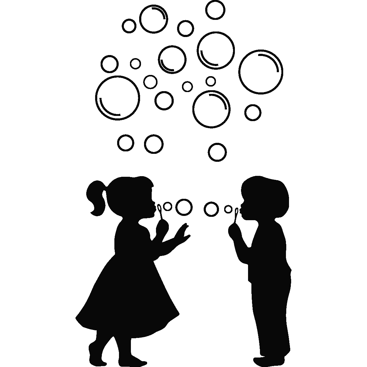 banner transparent library Little girl blowing bubbles. Vector bubble silhouette