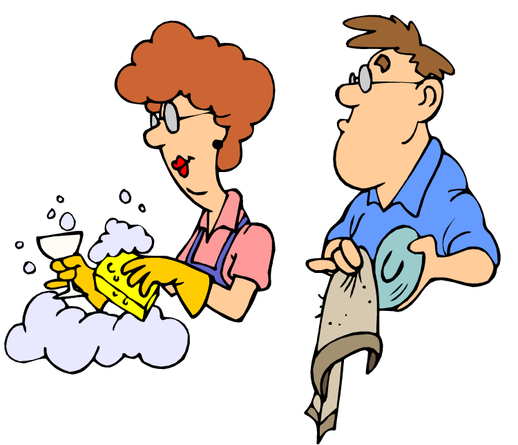 clip black and white stock Couples together from hell. Kids doing chores clipart.