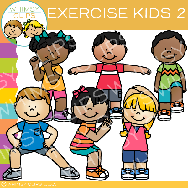 royalty free download Kids stretching clipart. Exercise clip art set