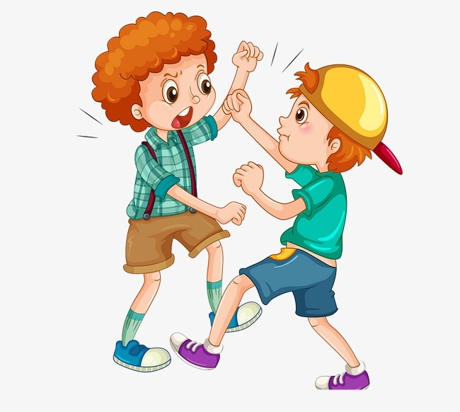 picture freeuse stock Kids hitting clipart. Kicking each other writings