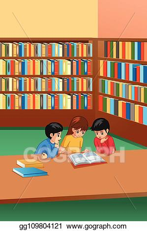 clipart library stock Kids in library clipart. Vector illustration studying .