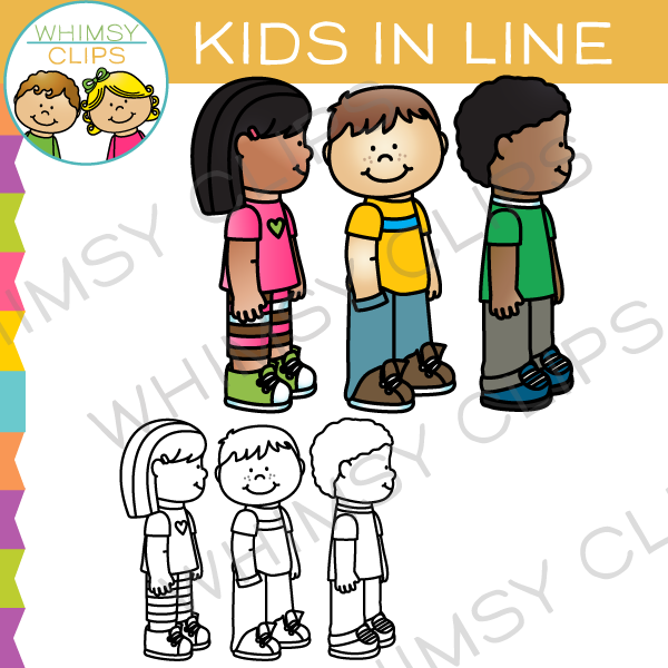 banner black and white library School clip art . Kids in line clipart