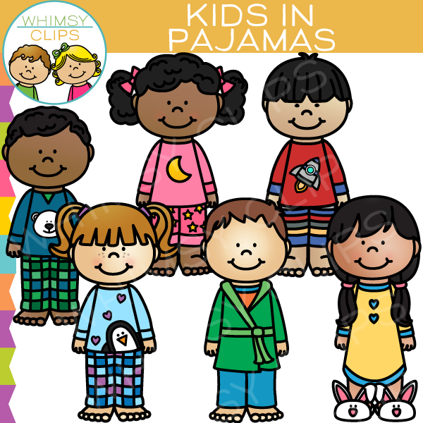svg Clip art . Kids in pajamas clipart