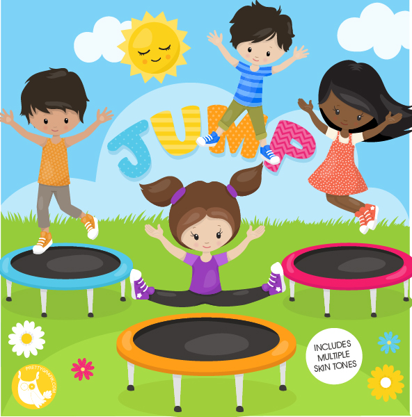 image free library . Kids jumping on trampoline clipart