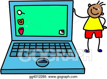 vector Drawing kid gg gograph. Kids laptop clipart