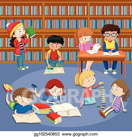 clip art freeuse Kids library clipart. Vector art many reading
