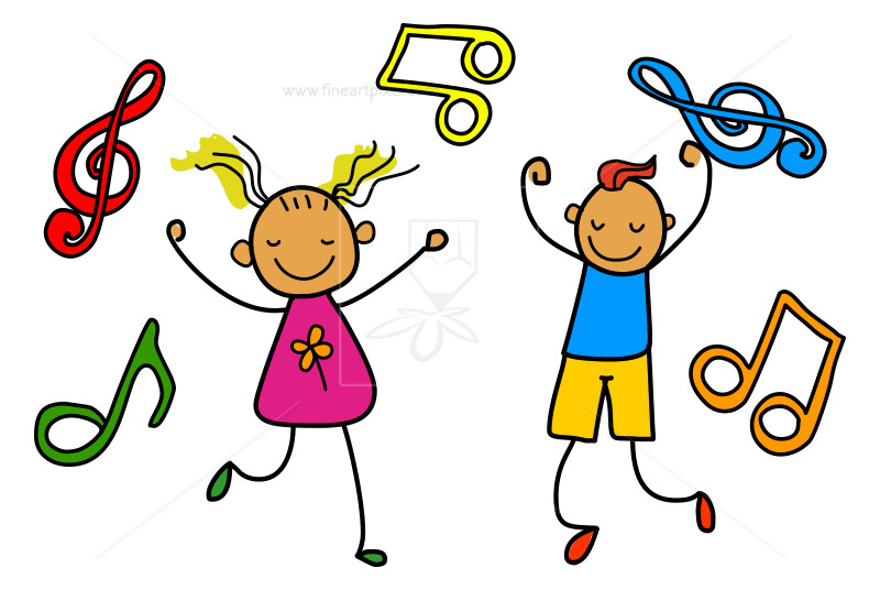 picture black and white download Illustration free vectors illustrations. Kids music clipart