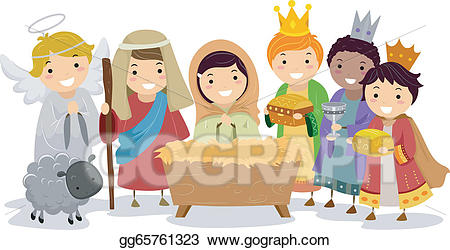 vector library download Kids nativity clipart. Vector art stickman in