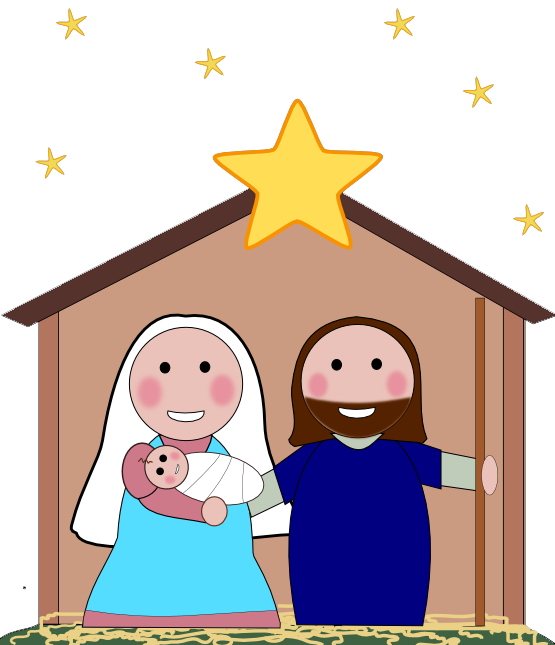 png black and white library Kids nativity clipart.  collection of scene
