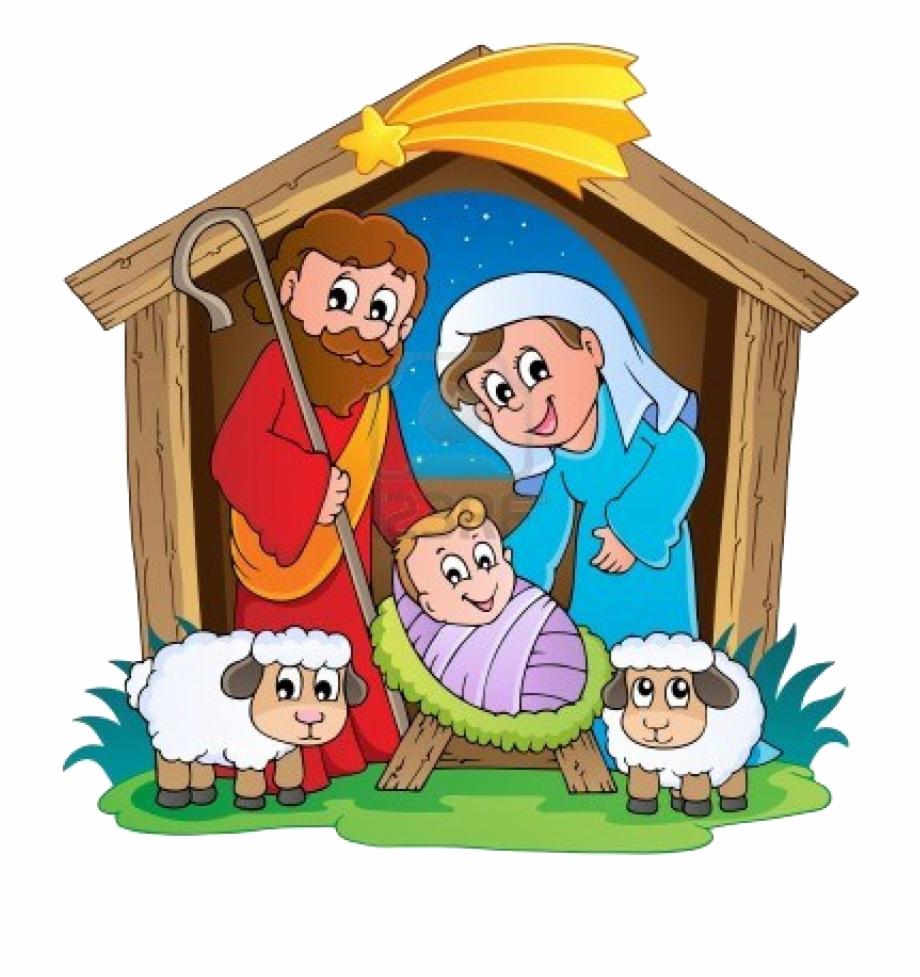 clip free Scene transparent . Kids nativity clipart
