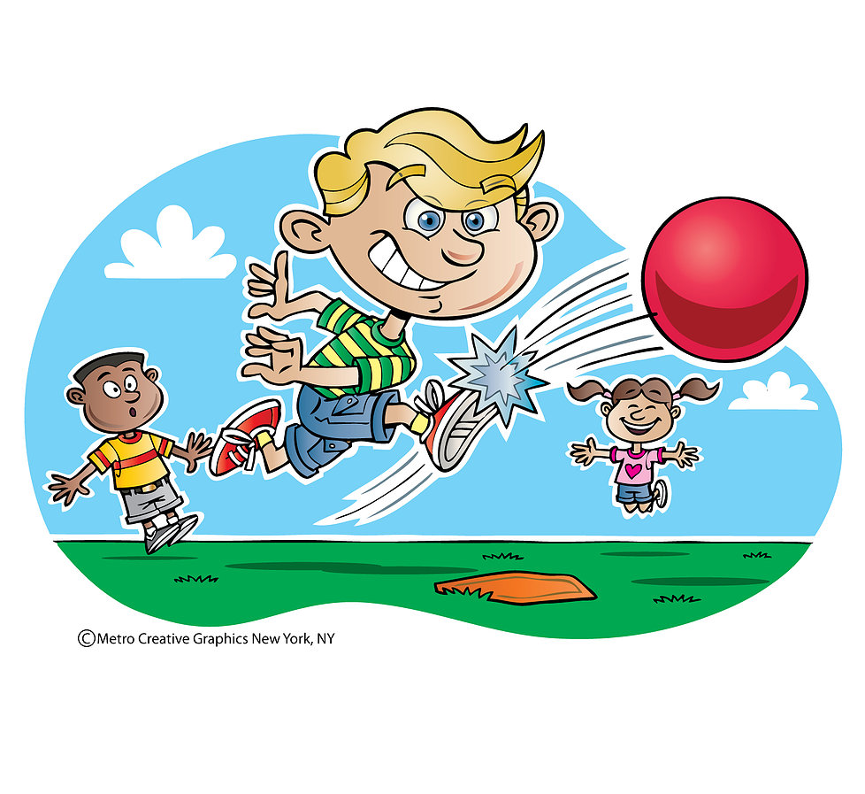 graphic freeuse download . Kids playing kickball clipart