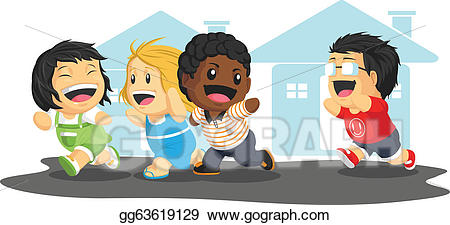 banner stock Kids playing tag clipart. Vector stock illustration .