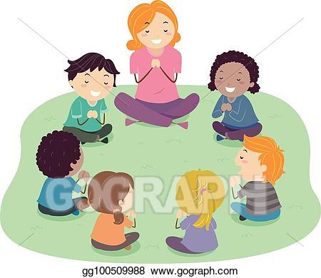 jpg library Kids prayer clipart. Vector stock stickman teacher