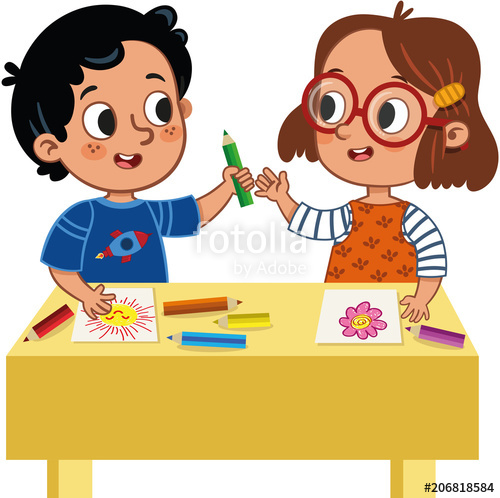 picture black and white Kids sharing clipart. Two cute school children