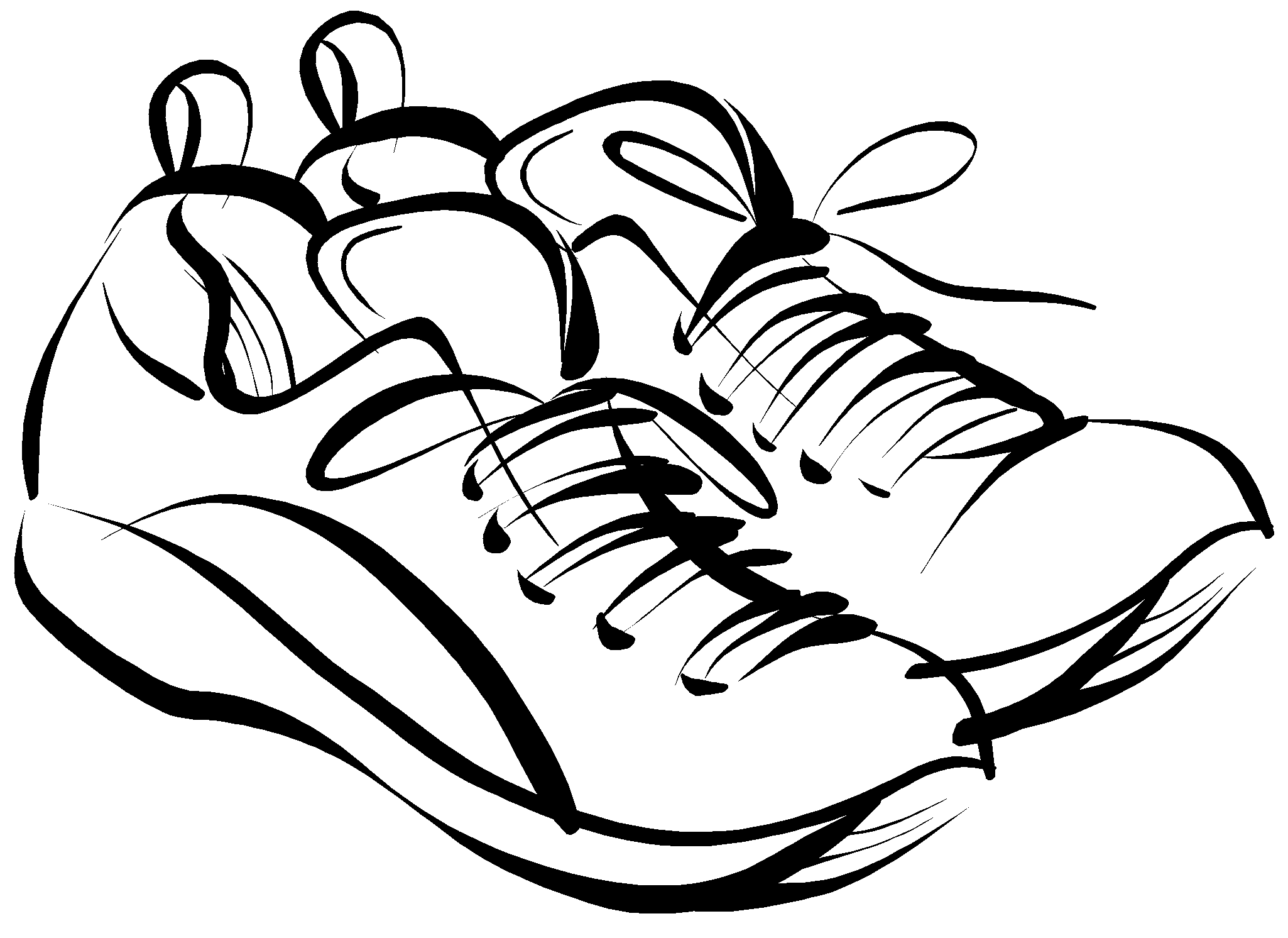 graphic black and white stock sneakers clipart easy #83471672