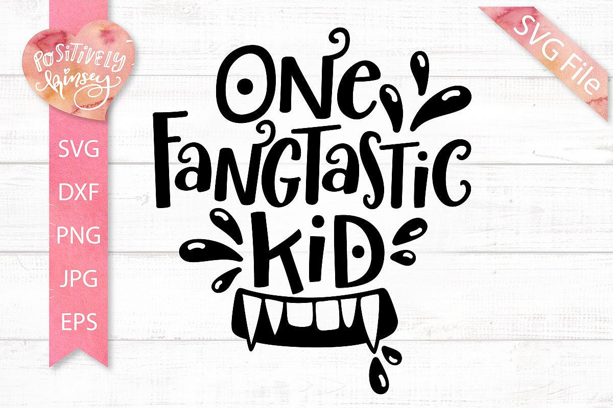clip black and white Kids svg. One fangtastic kid dxf.