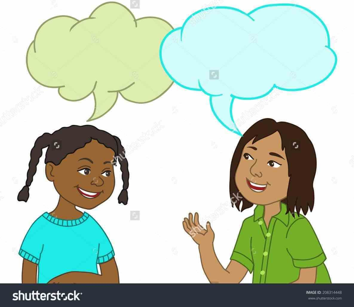 clip art freeuse stock Next two to each. Kids talking clipart