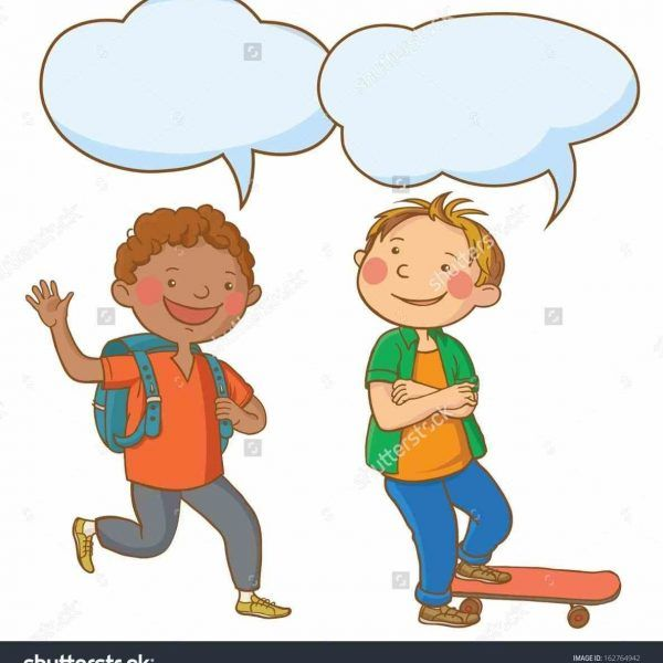 picture library stock Two clipartuse . Kids talking to each other clipart
