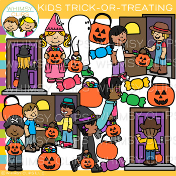 graphic transparent stock Kids trick or treating clipart. Halloween clip art