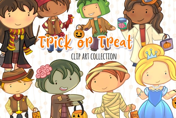 clip art freeuse Cute treat clip art. Kids trick or treating clipart