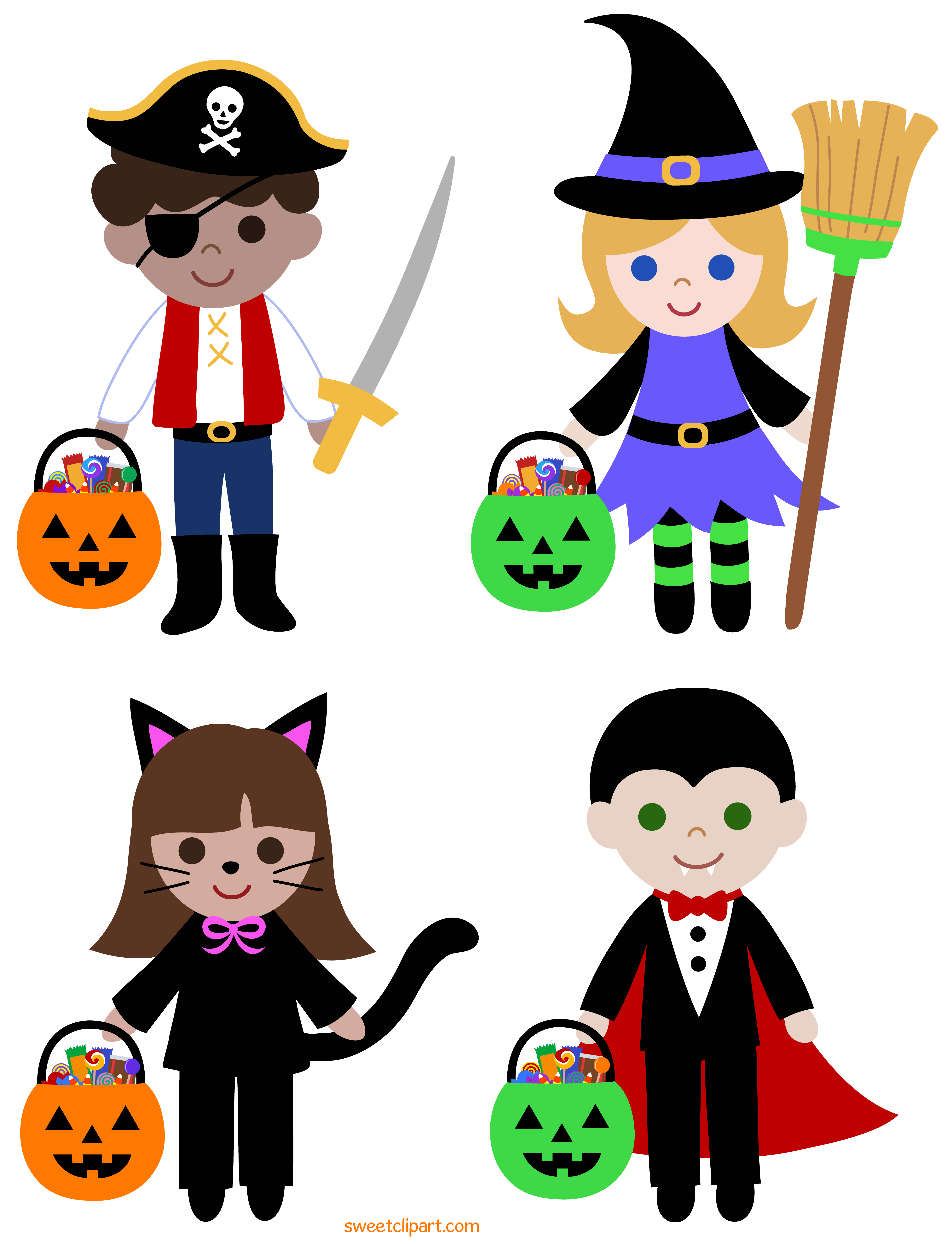 transparent download Kids trick or treating clipart. Treat halloween free clip