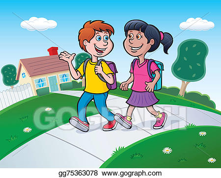 clip freeuse library Stock illustration two kids. Walking to school clipart.