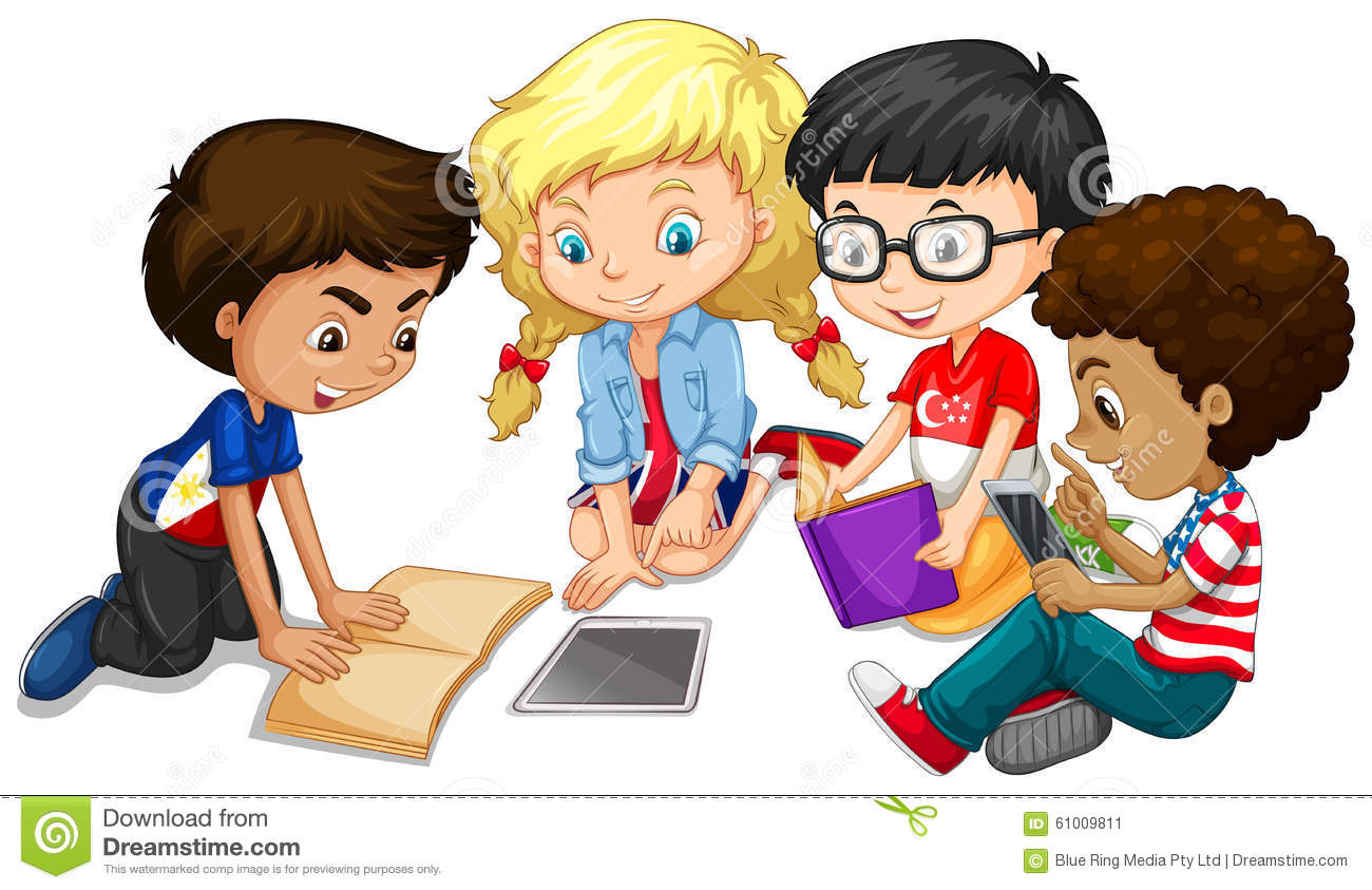 clip freeuse Children group work . Kids working in groups clipart.