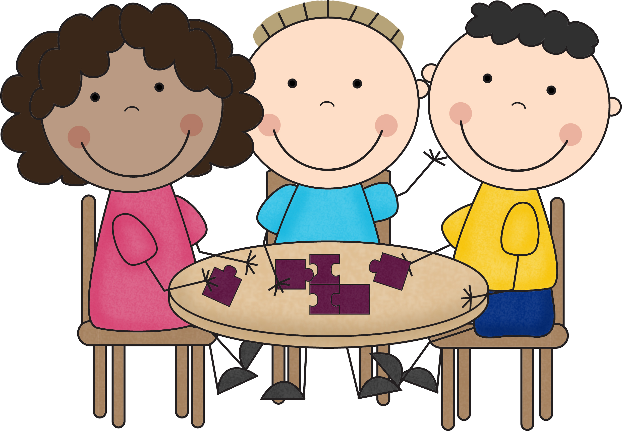 graphic transparent stock Kids working in groups clipart. .