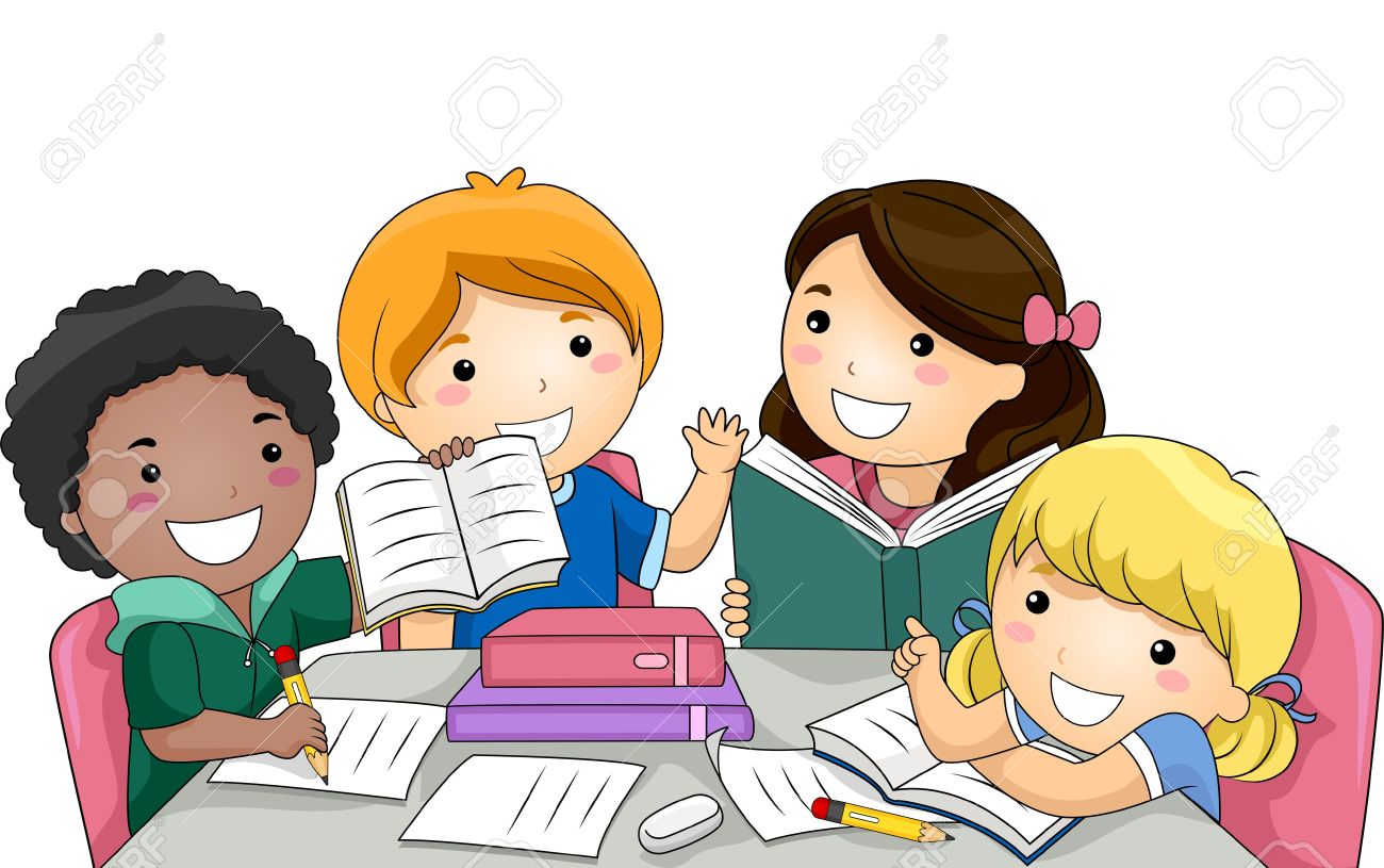 clip freeuse Kids working in groups clipart. Children group work .