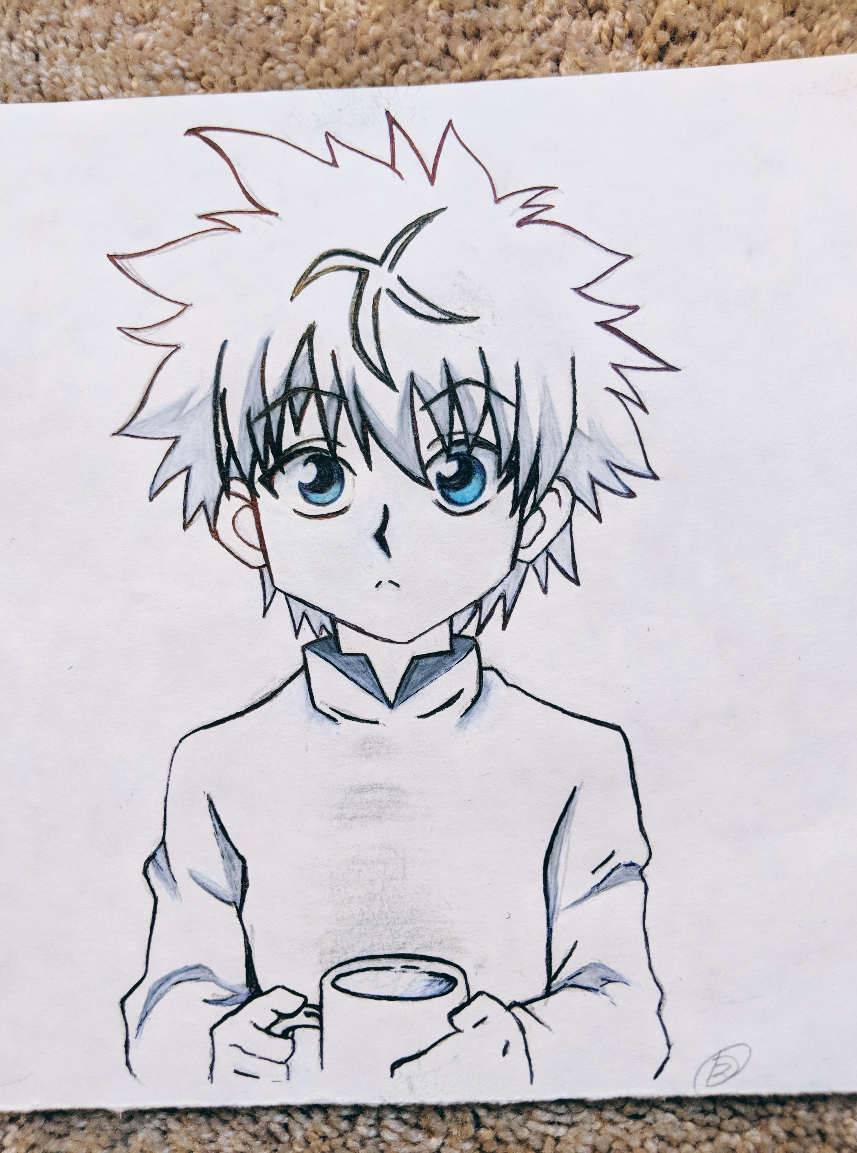 image library stock My first attempt at. Killua drawing