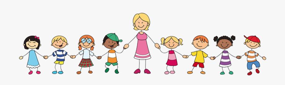 jpg freeuse download Kindergarten clipart. Transparent lehrerin und kinder.
