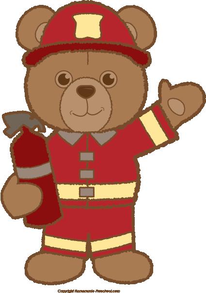 clipart library Teddy clipart preschool. Bear fireman free homeschool
