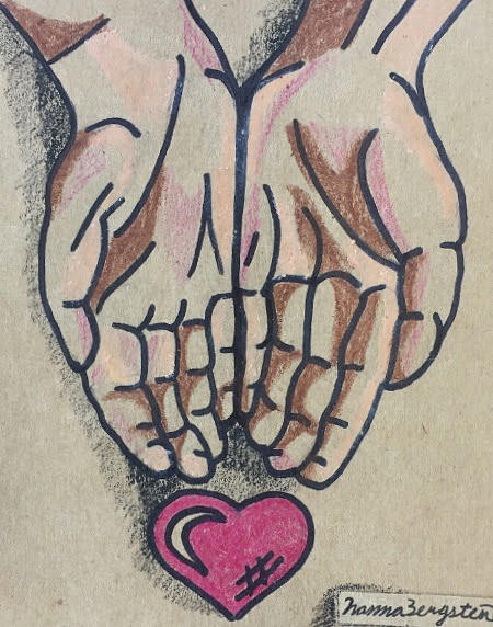 banner Kindness drawing. Hands of