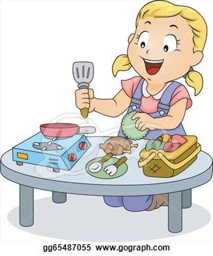 clip art transparent stock Kitchen play clipart. Illustration kids cooking drawings