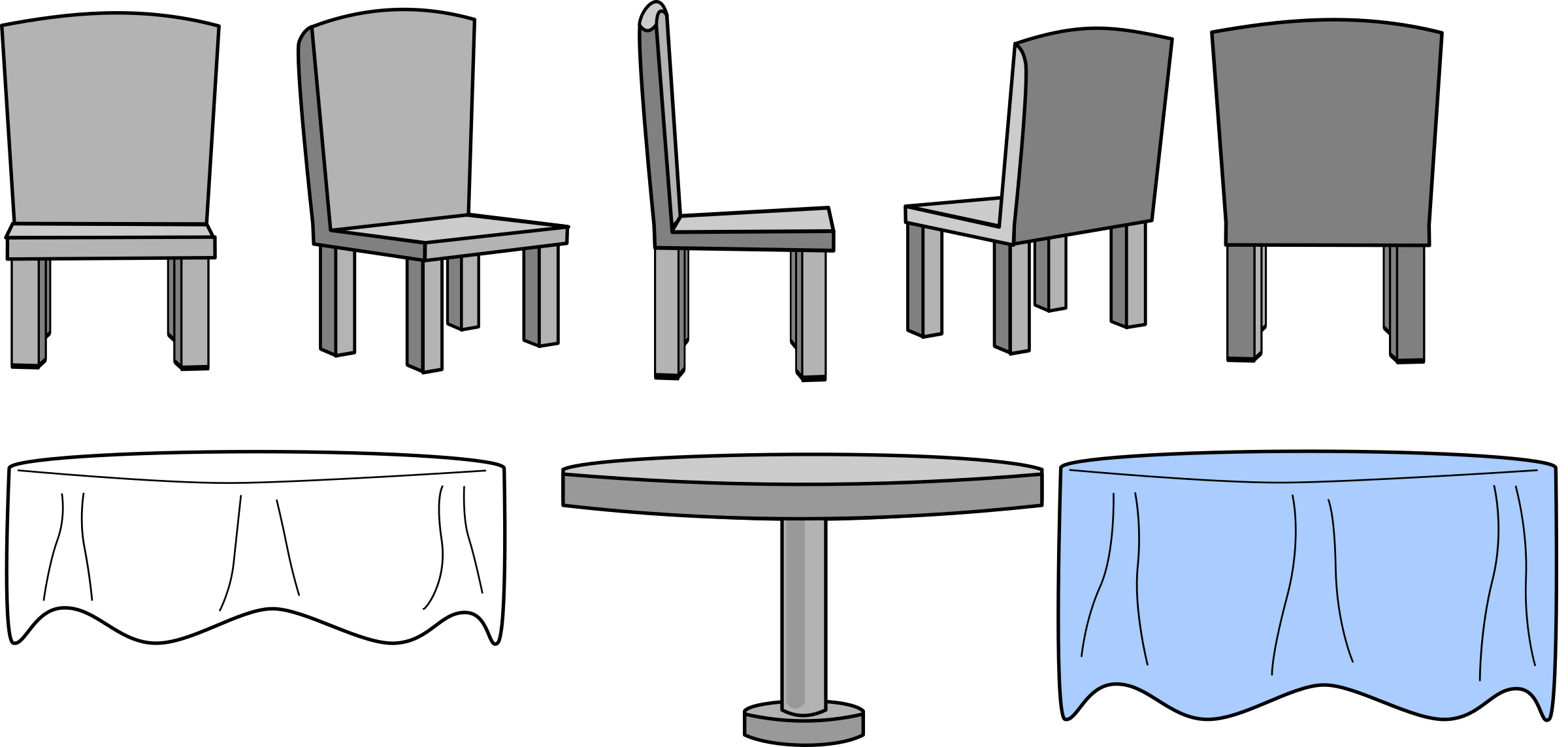 svg download And chairs with cloth. Kitchen table clipart