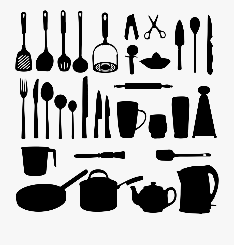 picture royalty free stock Utensils silhouette . Kitchen tool clipart
